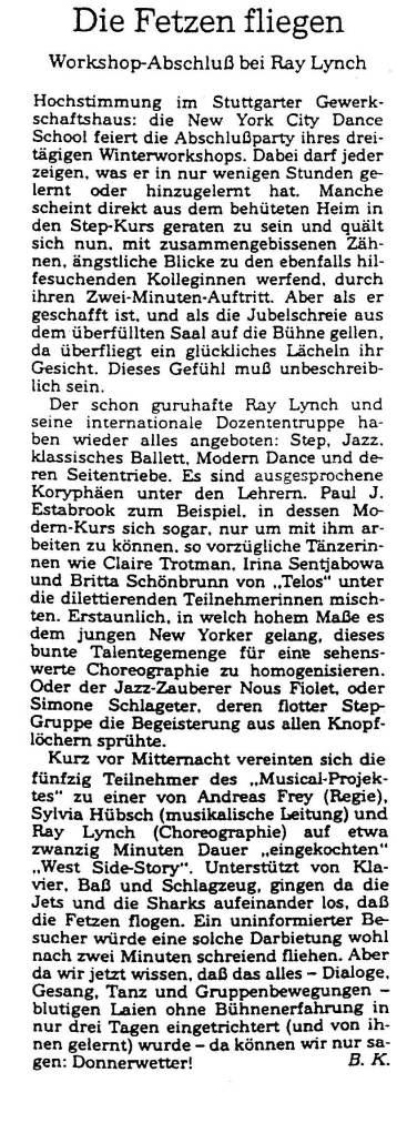 NYC Dance School january 1993 Stuttgarter Zietung_edited