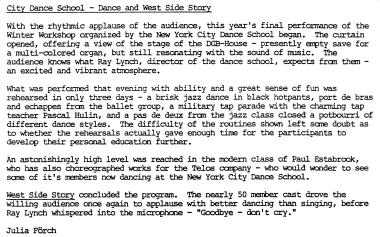 NYC Dance School january 1993english